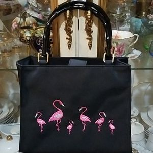Tiannl EUC Black Bamboo/Canvas Pink Flamingo Bag